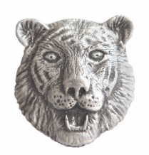 Tiger's Head Pewter Brooch - BR1336